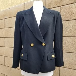 100% Wool Double Breasted Blazer Gold Tone Button